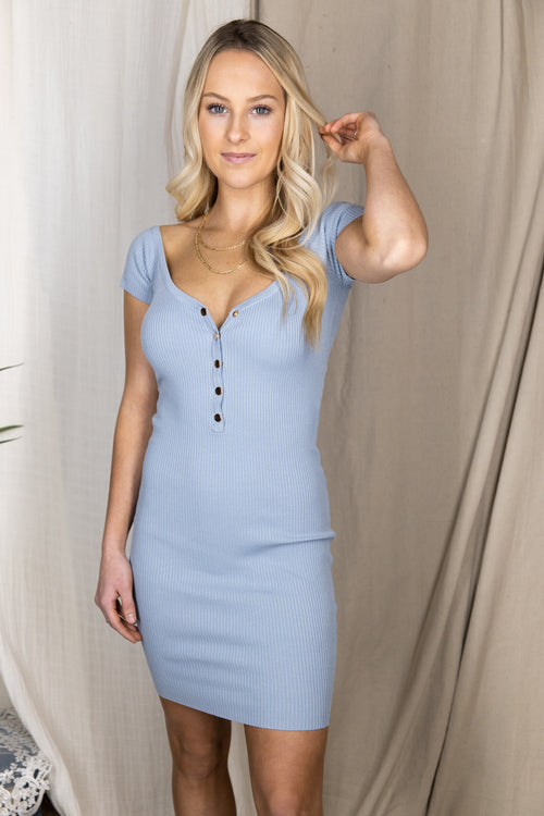 Endless Ideas Baby Blue Ribbed Bodycon Dress