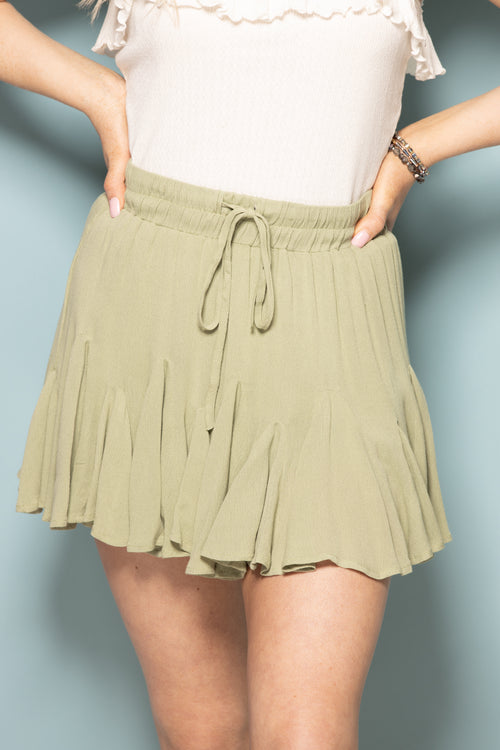 Come With Me Ruffle Skirt: Sage - impromptu boutique