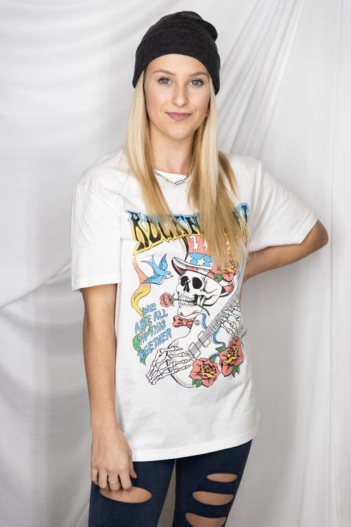 Rock And Roll Oversize Graphic Tee: White