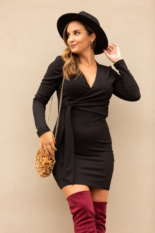 Call Me Maybe Black Wrap Dress