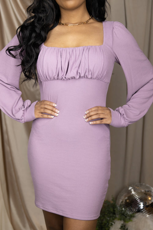 Champagne Problems Lavender Long Sleeve Dress