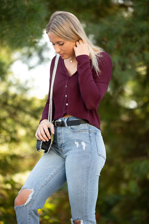 You Should Know Burgundy Knit Top