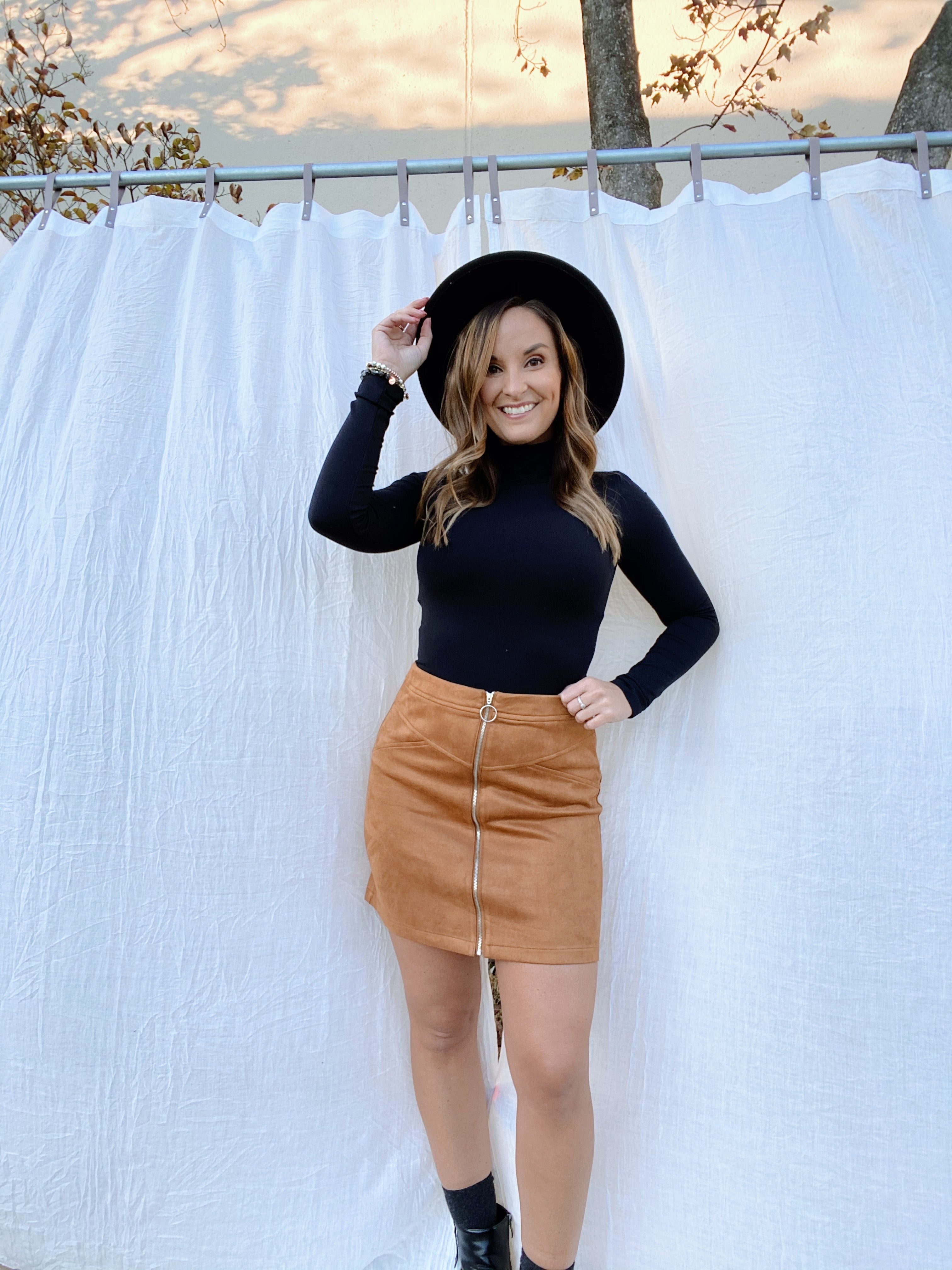 Keeping You Tan Suede Zip Up Skirt