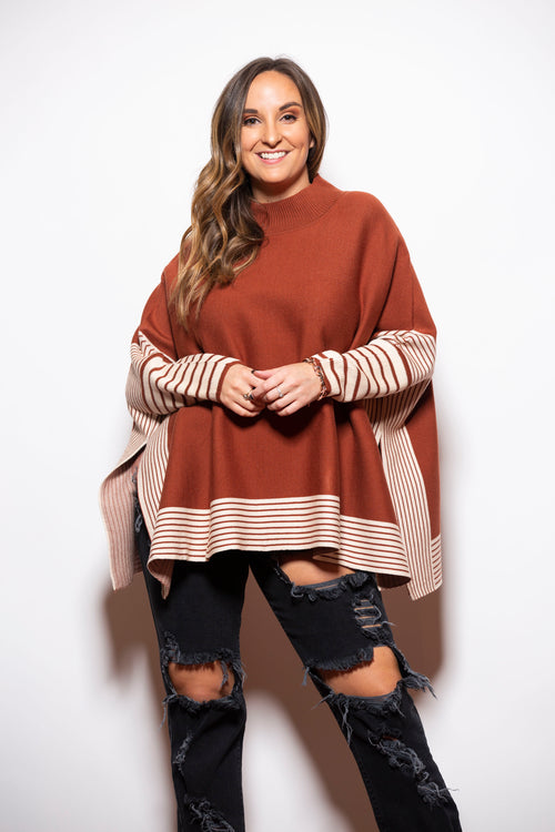 Gather Together Brown Long Sleeve Poncho