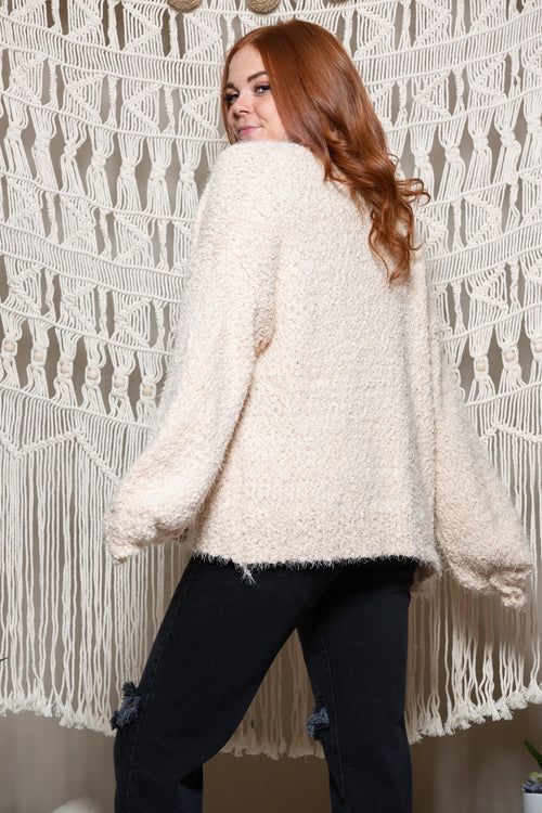 Happy With Me Fuzzy Beige Cardi