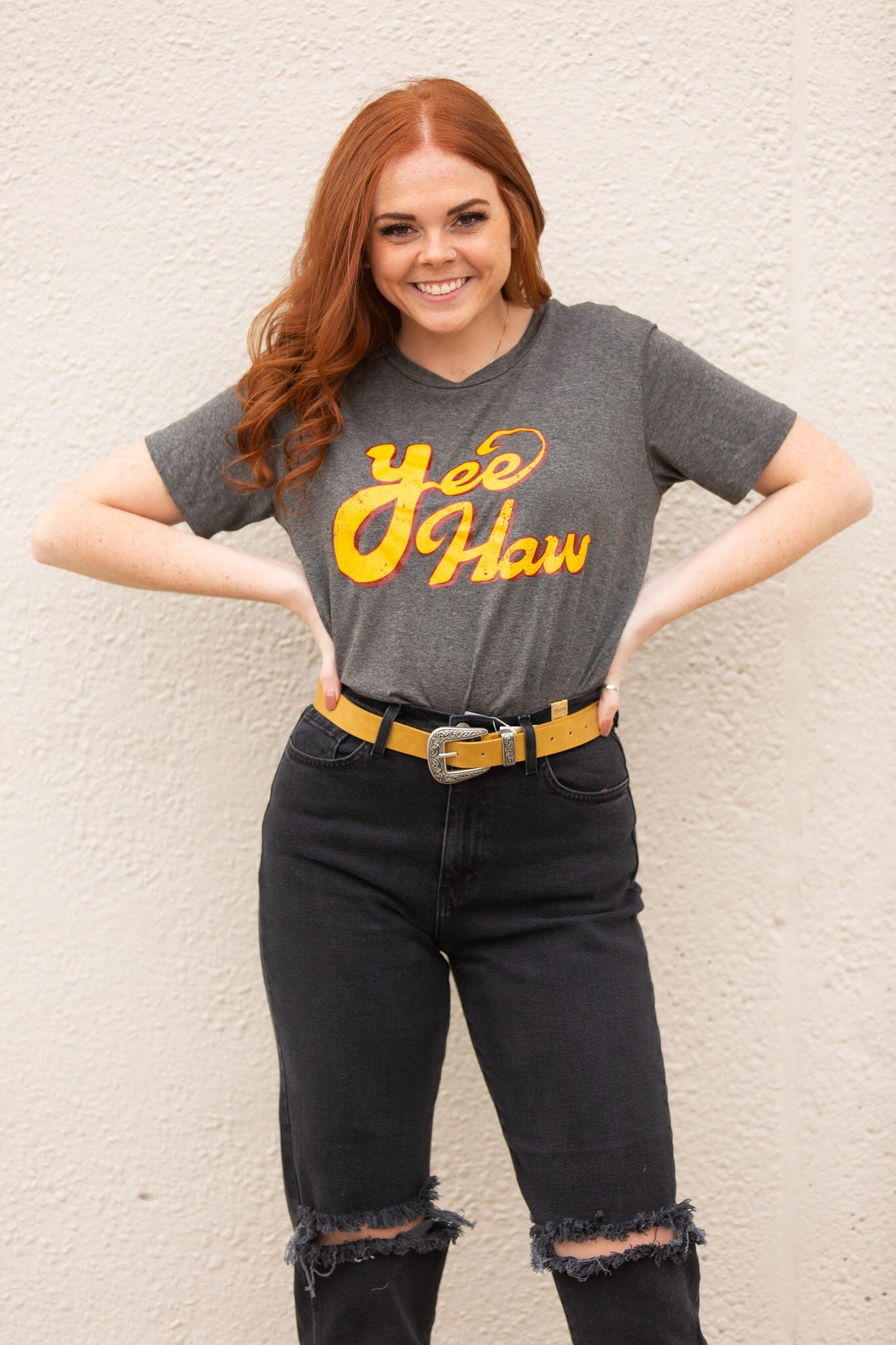 Yee Haw Graphic Tee: Grey - impromptu boutique