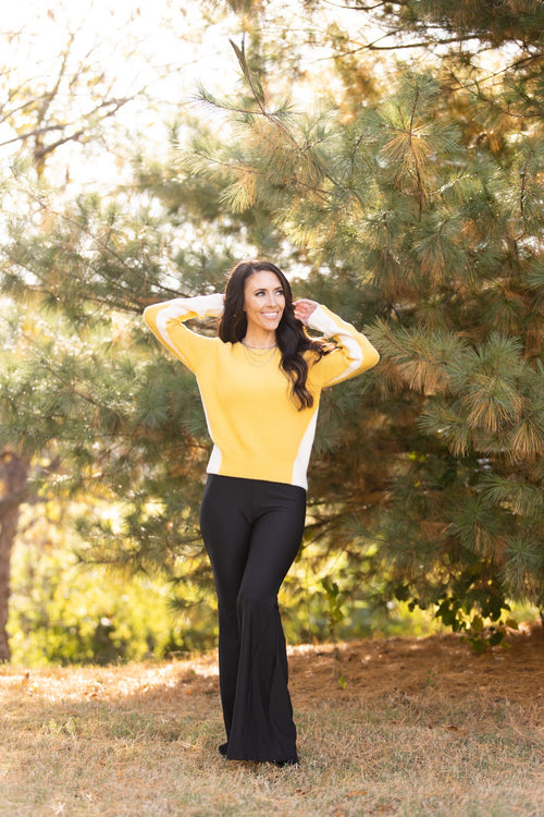 True Story Yellow Colorblock Sweater