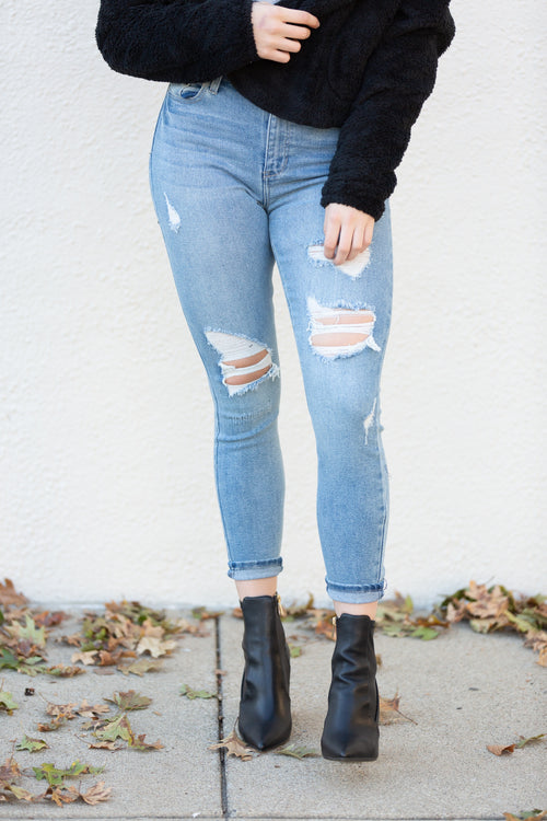 Go The Distance High Rise Distressed Denim - impromptu boutique