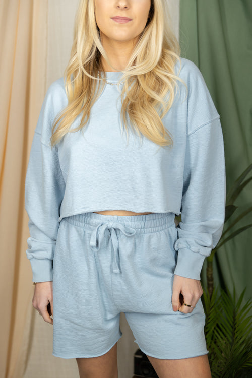So Tied Up Sky Blue Sweat Set