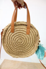 Out Of Sight Round Woven Straw Bag