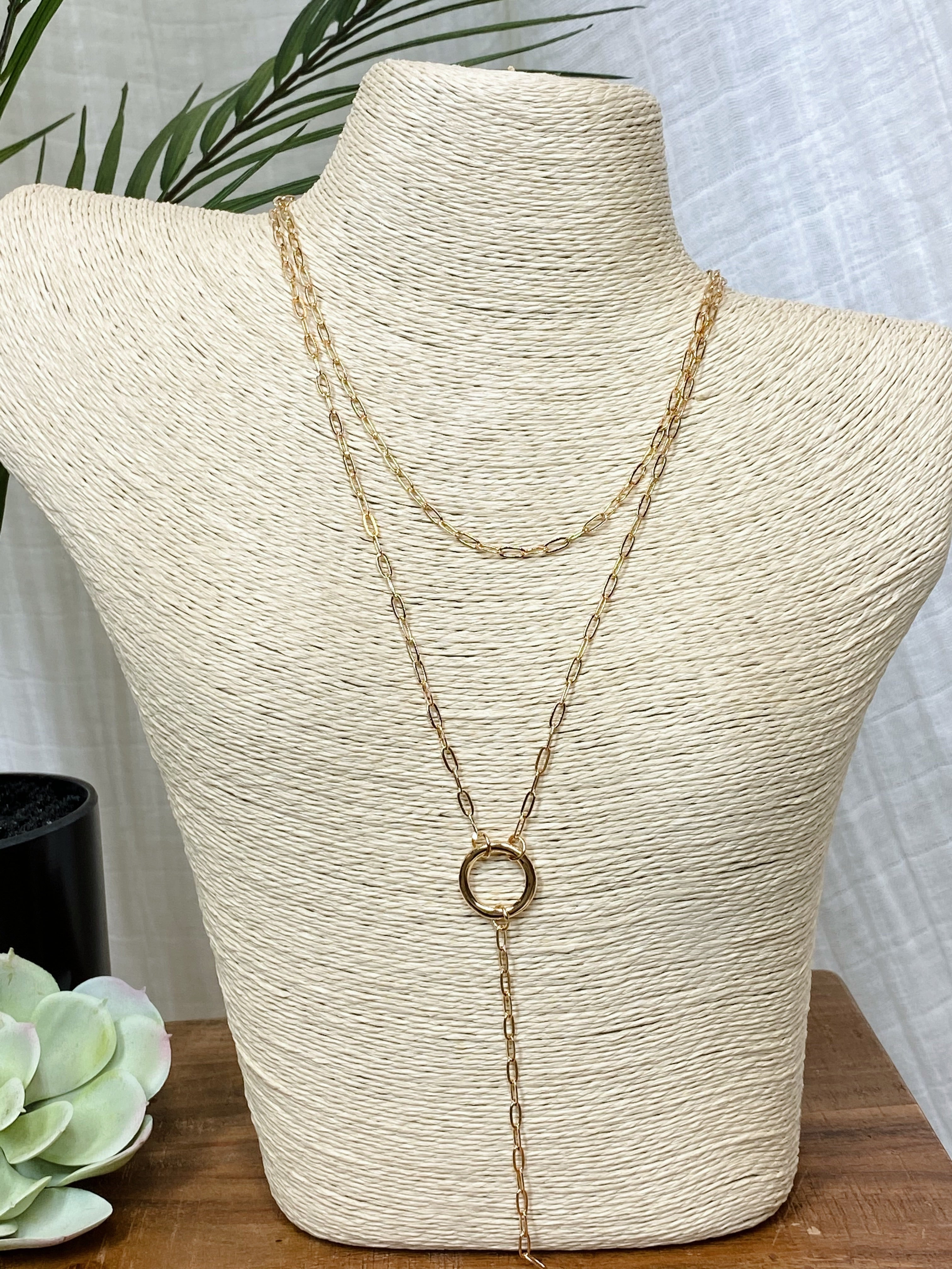 Gold Two In One Contrast Chain Necklace