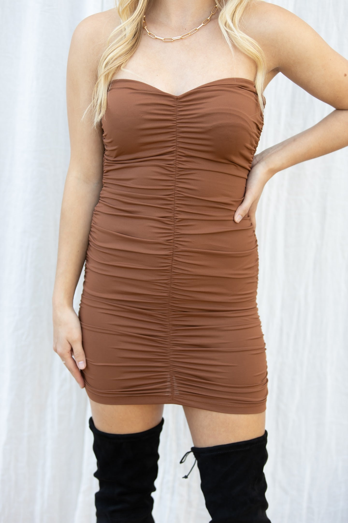 Say Hello Ruched Strapless Mini Dress