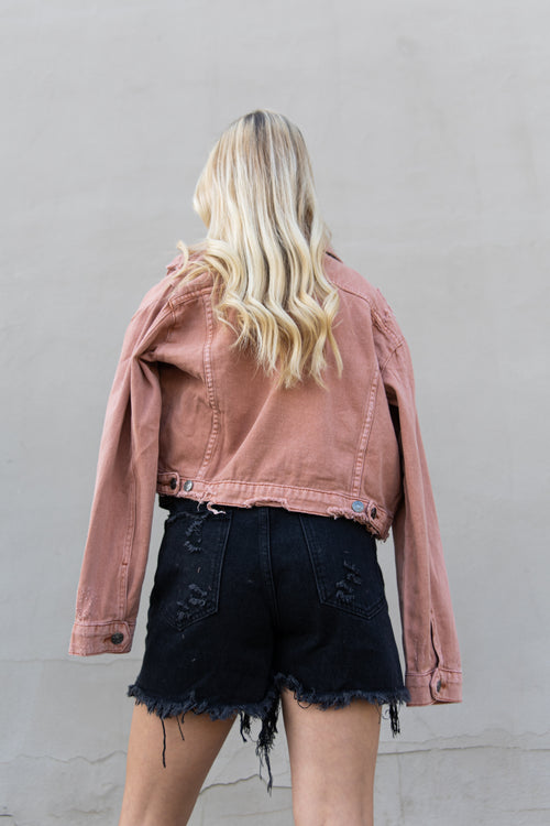 Straight Forward Cropped Clay Denim Jacket