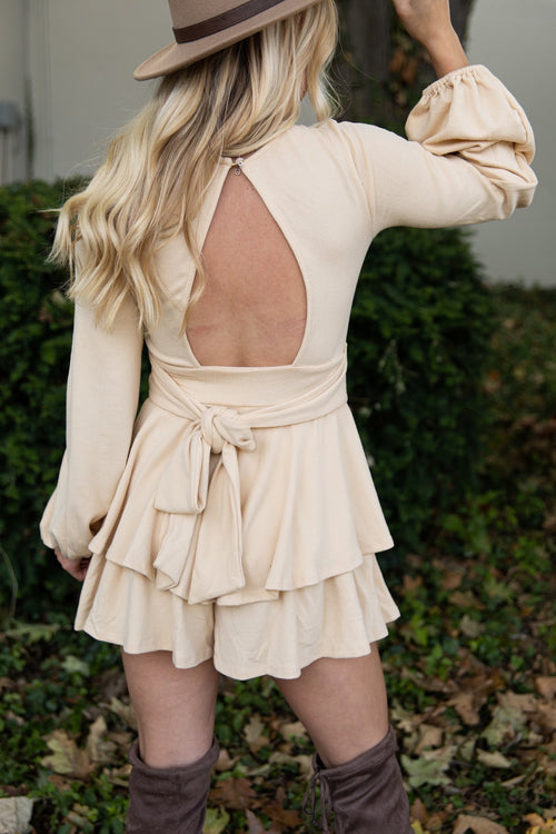 Get Right To It Beige Romper