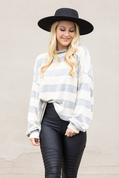 In Your Arms Stripe Plush Sweater