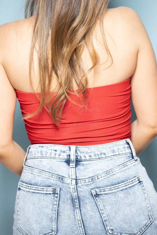 Make It Easy Tube Top: Red - impromptu boutique