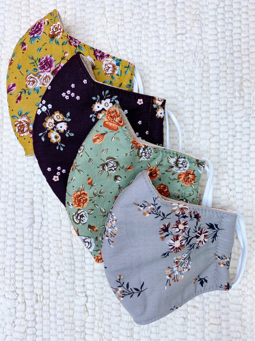 Fall Floral Cotton Face Masks