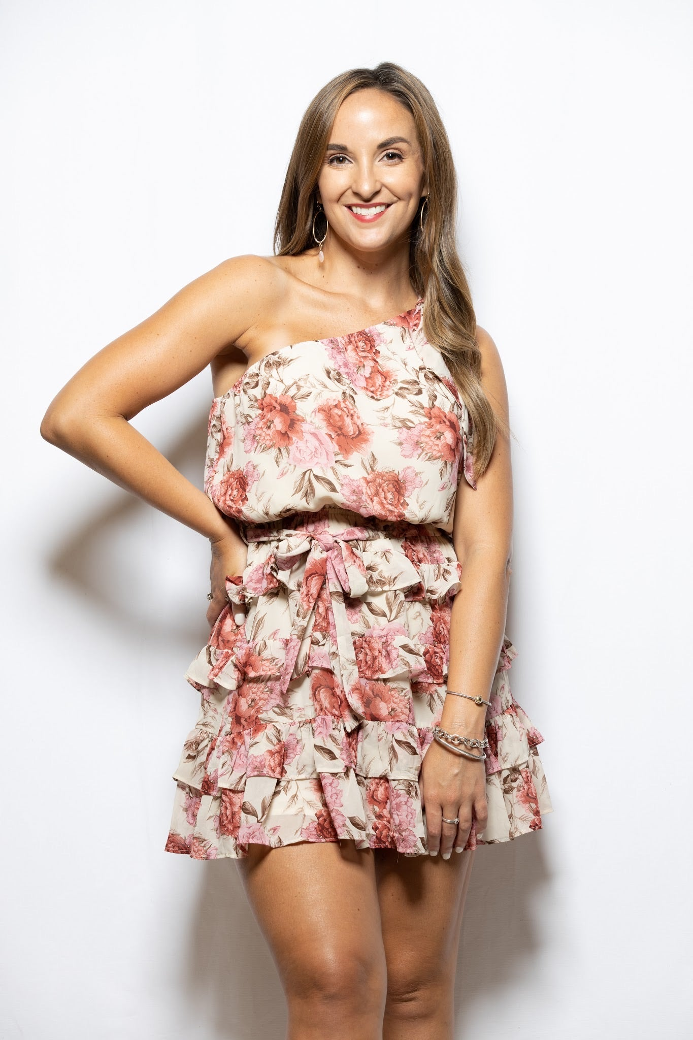 Anything Goes One Shoulder Ruffle Floral Dress