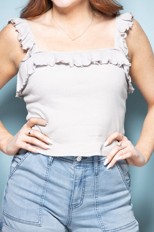 On Your Time Ruffle Tank: Grey - impromptu boutique