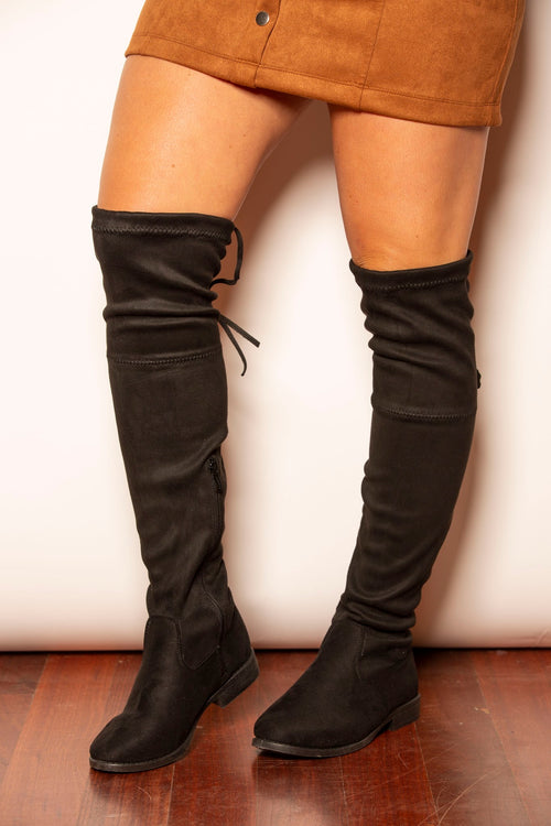 Taylor Suede Over-The-Knee Black Boots