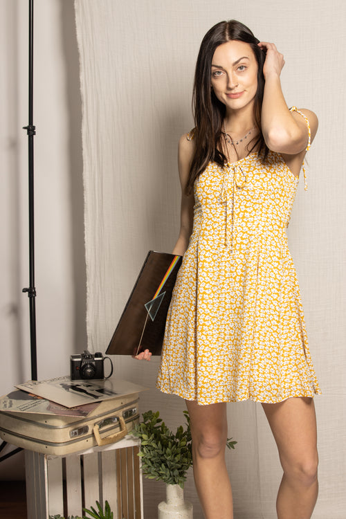 Dancing In Fields Floral Dress: Mustard - impromptu boutique