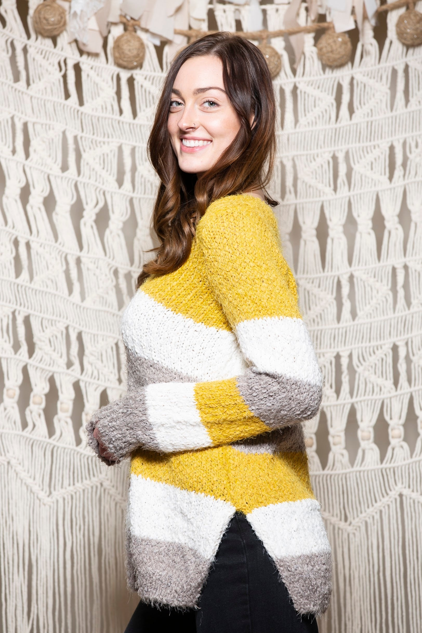 Be Mine Yellow Colorblock Sweater - impromptu boutique