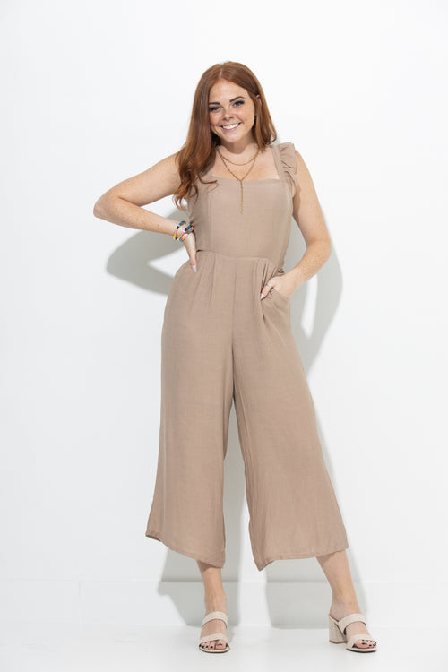 Just You Wait Taupe Jumpsuit