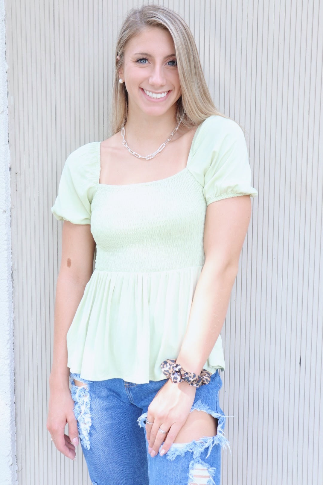 Show Me The Way Smocked Peplum Top: Lime