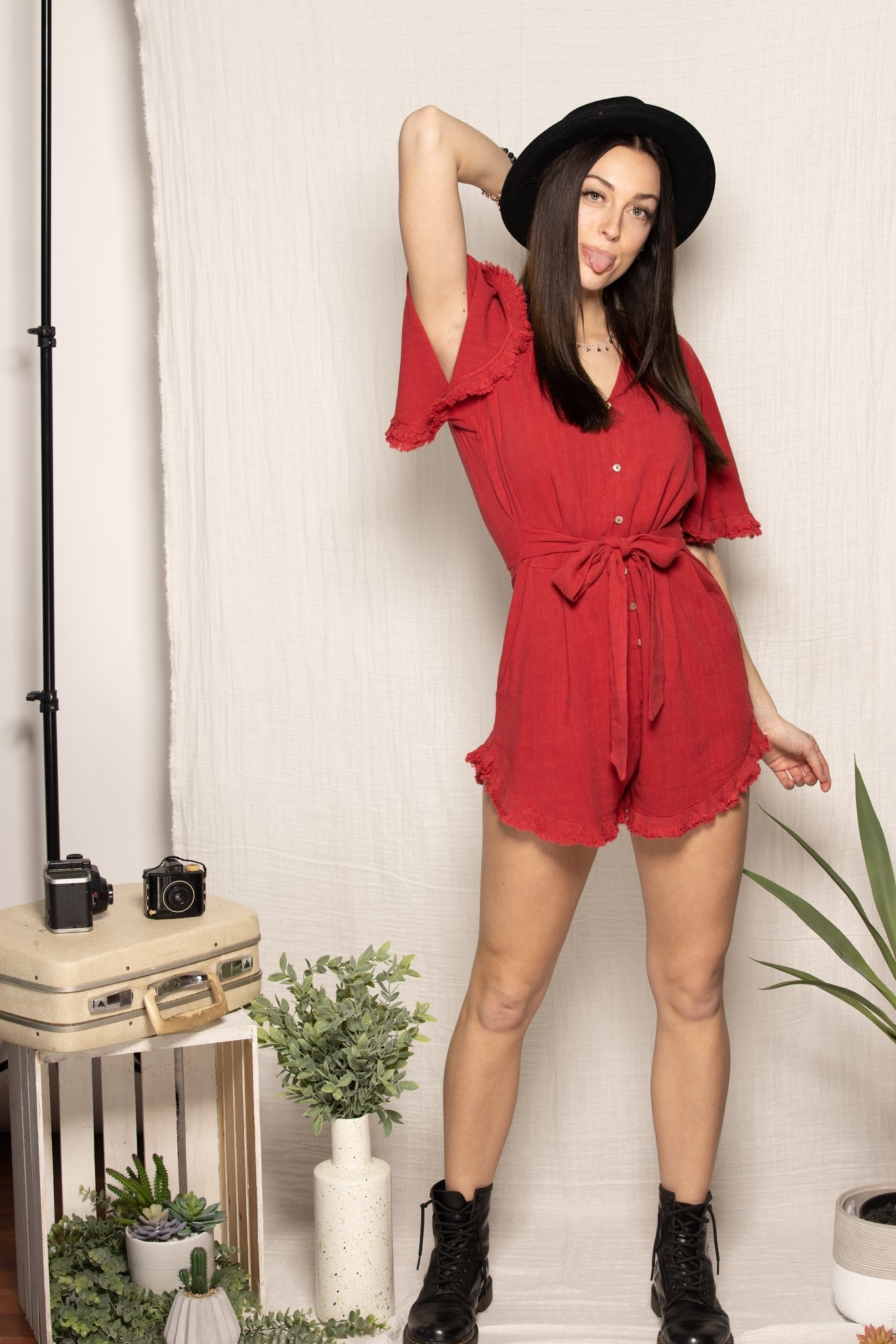 Brighter Days Red Linen Romper - impromptu boutique