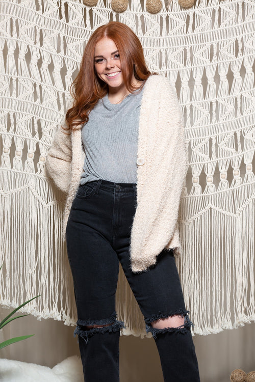 Happy With Me Fuzzy Beige Cardi - impromptu boutique