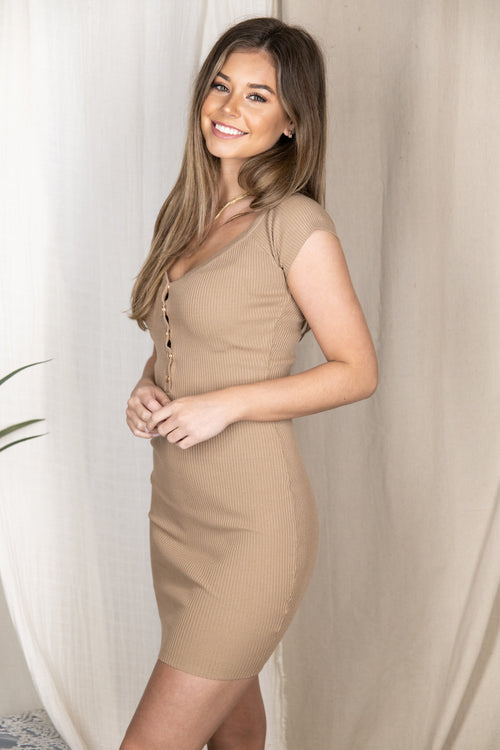 Endless Ideas Nude Ribbed Bodycon Dress