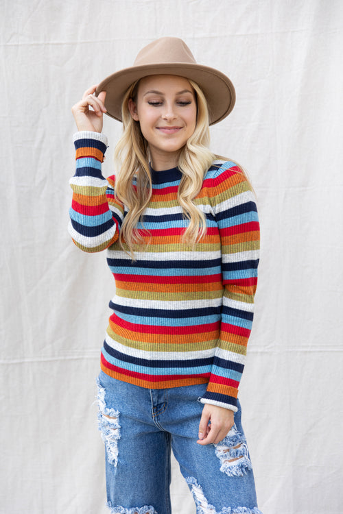 Give It To Me Colorful Stripe Sweater