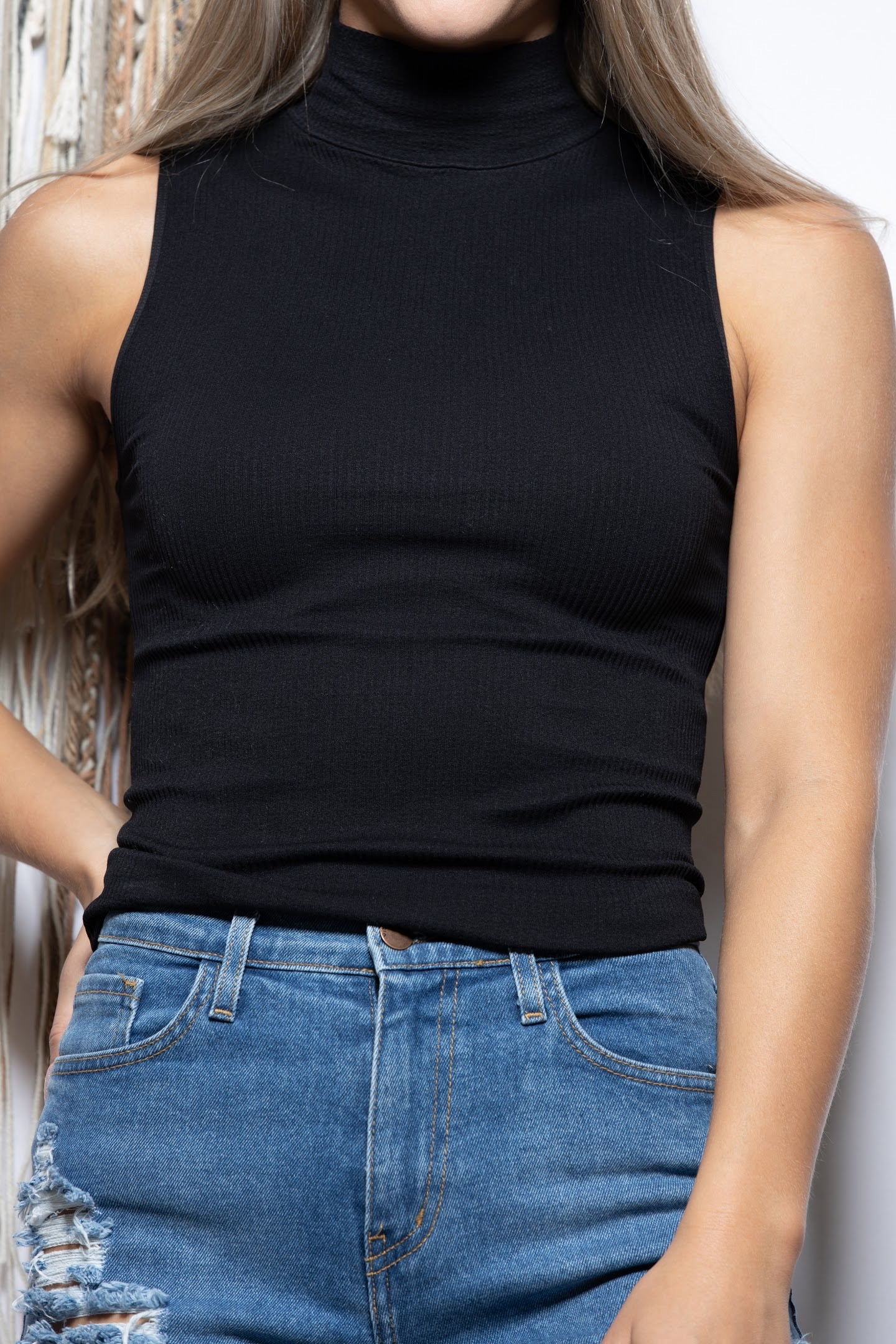I'll Be Here Ribbed Mock Neck Tank: Black