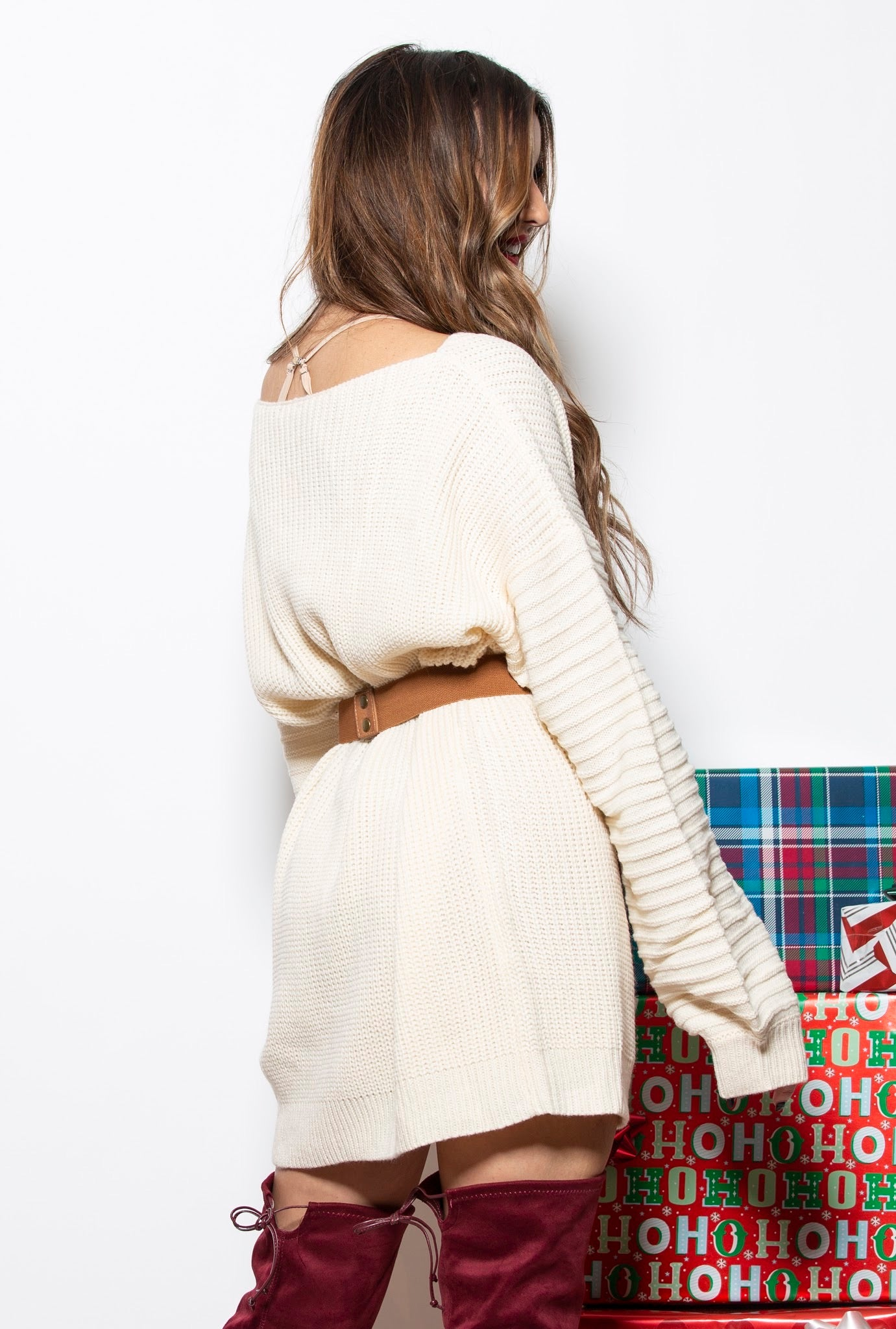 Cozy By The Fireside Ivory Sweater Dress - impromptu boutique