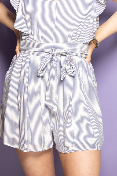 Simple As That Navy Stripe Romper - impromptu boutique