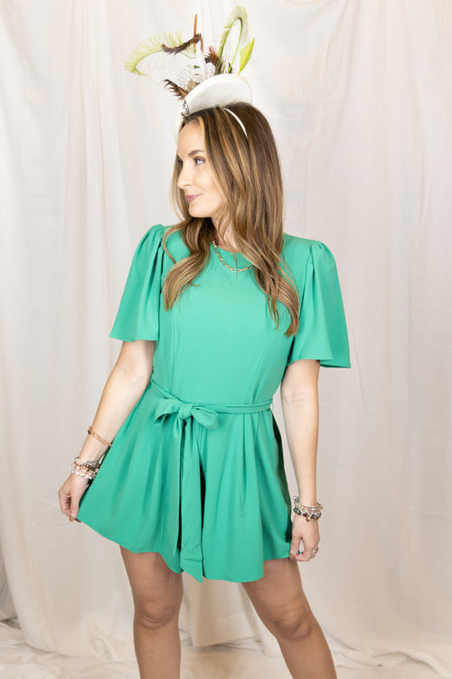 One More Time Green Romper