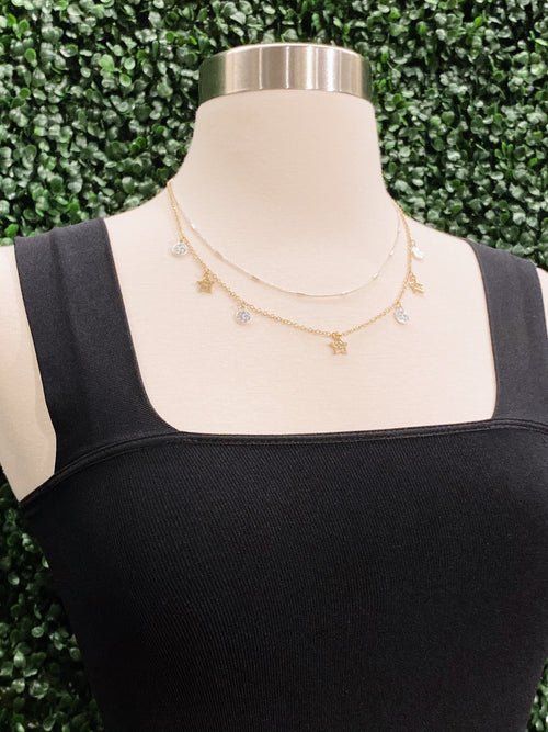 Layered Silver & Gold Star Necklace *CSL303*