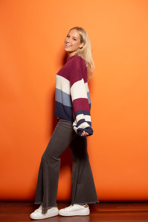 Feeling Some Stripe Of Way Magenta Sweater - impromptu boutique