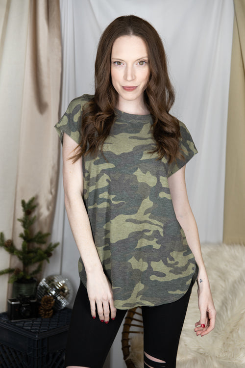 One Of A Kind Camo Tee: Green
