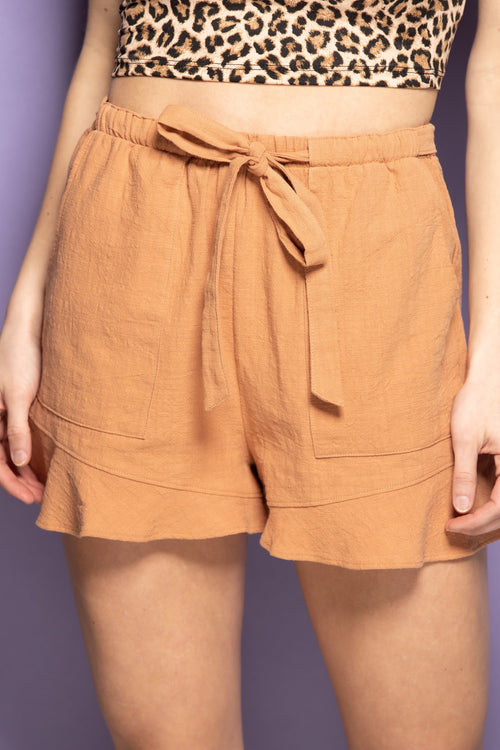 Simple Things Drawstring Linen Shorts: Almond - impromptu boutique