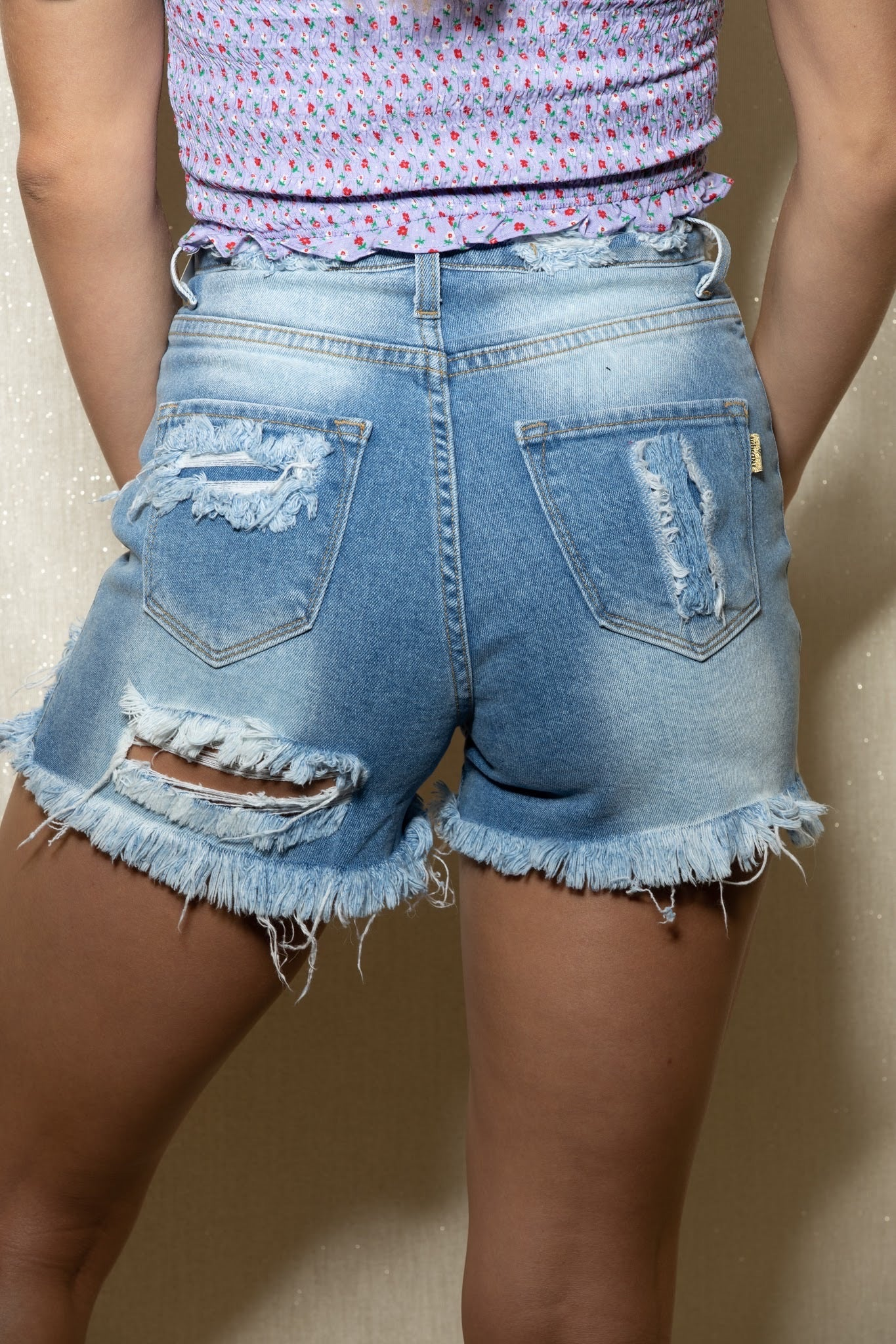 Things Change Distressed Denim Shorts