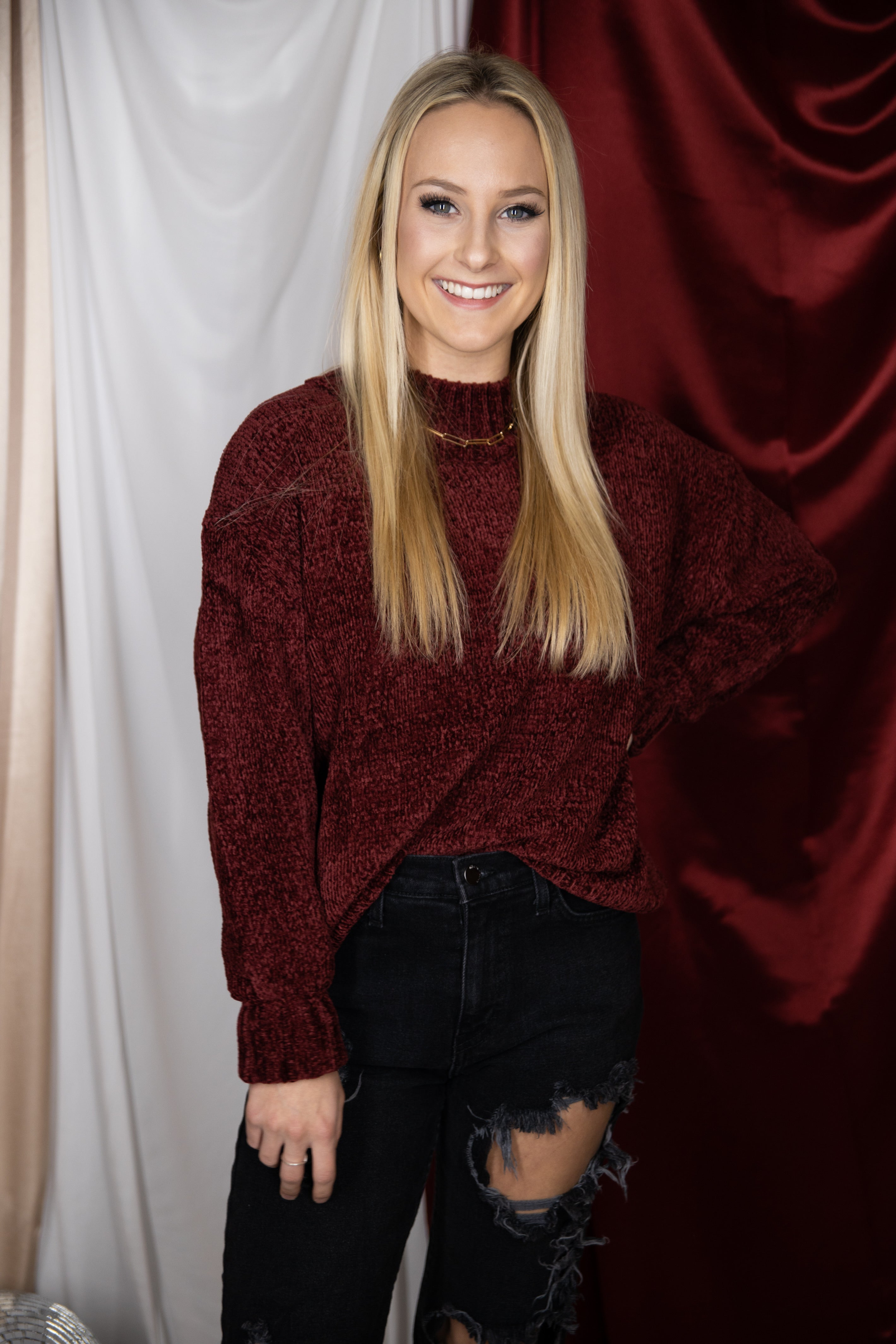 Here And There Burgundy Chenille Sweater