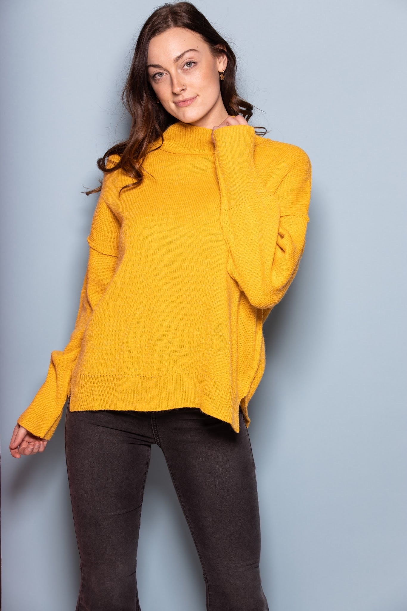 Come On Over Mustard Turtleneck Sweater - impromptu boutique