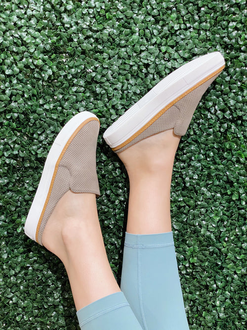 Riley Taupe Slip On Backless Sneakers