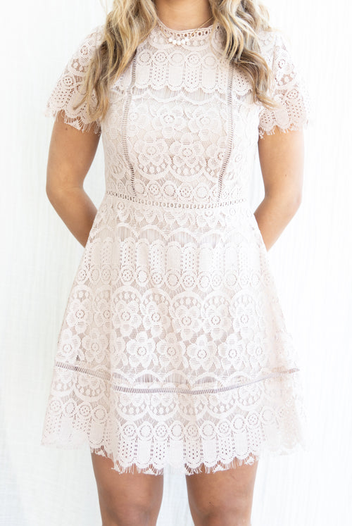 More Than You Know Blush Lace Dress