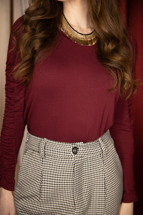 Move On Ruched Sleeve Top: Burgundy
