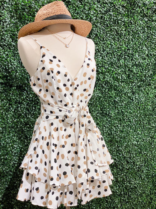 Back For Good Black/Nude PolkaDot Romper