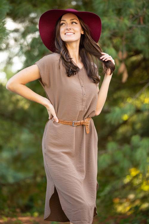 Get Things Going Mocha Satin Dress - impromptu boutique