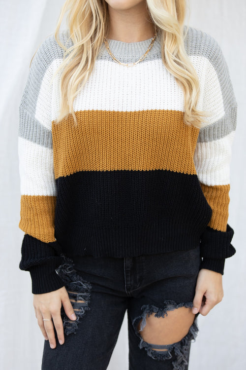 That Good Feeling Yellow/Grey Colorblock Sweater