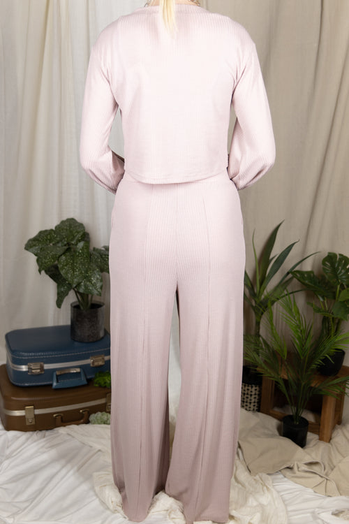 Early Riser Two Piece Lounge Pant Set: Mauve